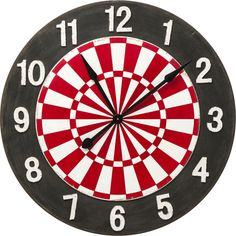 Vivid colours and a dynamic design make an energetic accessory of this dartboard wall clock, a playful piece ideal to brighten up any living space. Kare Design, Target, Vivid Colors, Colours, Bonnie Clyde, Dynamic Design, Dart Board, Captain America, Instruments