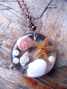 Beach Necklace – Real shells and starfish in Resin – Nautical Pendant – Ocean Life Necklace – Beach Pendant – Wire Wrapped Pendant – resin crafts Diy Resin Crafts, Jewelry Crafts, Handmade Jewelry, Uv Resin, Resin Art, Resin Molds, Silicone Molds, Nautical Pendants, Nautical Necklace