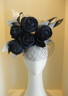 Vintage Japanese silk bloom garden with vintage silk veiling and contrast leather leaves - Jill and Jack Millinery