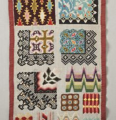 This Berlin wool work sampler was made around Berlin wool work is a style of embroidery similar to today's needlepoint. Embroidery Sampler, Crewel Embroidery, Ben Shahn, Book Making, Textile Art, Needlepoint, Needlework, Cross Stitch, Weaving