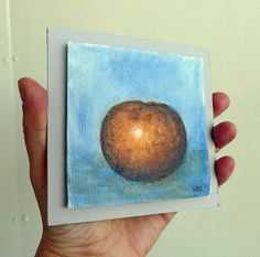 orange, tangerine, original miniature painting. canvas-board, tiny painting, clementine, mini art, small citrus fruit painting,  wall decor