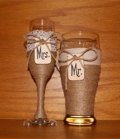 Champagne Flute and Beer Glass / Rustic by CarolesWeddingWhimsy, This Rustic Wedding Decoration - Rustic Champagne Flute and Beer Glass has Mason Jar Tags with Mr. and Mrs written on them.  They can also put the date on them.  You can find them here https://www.etsy.com/listing/238625748/champagne-flute-and-beer-glass-rustic? https://www.etsy.com/shop/CarolesWeddingWhimsy https://www.facebook.com/CarolesWeddingWhimsy