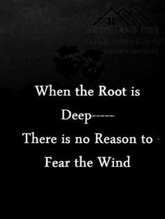 inspirational quotes - When the root is deep --- there is no reason to fear the wind