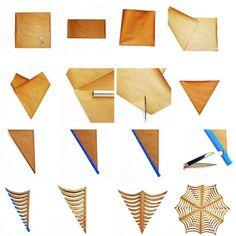 pliage et découpage de papier par étapes pour faire une toile d'araignée