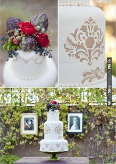damask wedding cake   CHECK OUT MORE IDEAS AT WEDDINGPINS.NET   #weddingcakes