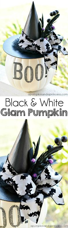 Black and White Glam pumpkin - 25+ no-carve pumpkin ideas - NoBiggie.net