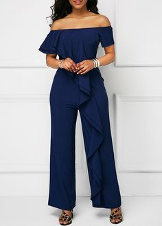 """63f029a02ce Look stylish and fabulous in """"Navy Off the Shoulder Ruffle Trim Jumpsuit"""".  Shop"""
