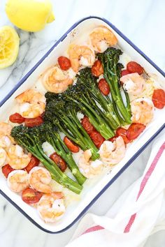 One of my favorite ways to make shrimp is roasted in the oven, it comes out tender and flavorful every time! I added some of our favorite vegetables to make it a ONE-pan meal, and we loved it! A quick and EASY low-carb dish with tons of flavor, ready in u Low Carb Dinner Recipes, Healthy Recipes, Fish Recipes, Seafood Recipes, Cooking Recipes, Skinny Recipes, Pan Cooking, Hcg Recipes, Salad Recipes