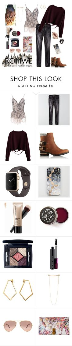 """Euro Fall City Style"" by runsonblackcoffee on Polyvore featuring Gold Case, American Eagle Outfitters, SOREL, Bare Escentuals, Christian Dior, MAC Cosmetics, Dutch Basics, STELLA McCARTNEY, Ray-Ban and Elliott Lucca"