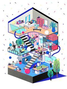 Networker Magazine article Illustration.프랑스 Networker Magazine의 새로운 주거 형태,공유경제에 대한 기사 일러스트레이션 작업.작업문의jisuchoi.poly@gmail.com