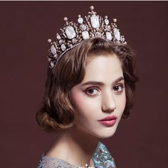 New Fashion Retro Oversize Baroque Royal Crown Headpiece with Red Rhinestone Bridal Baroque Hair Accessores