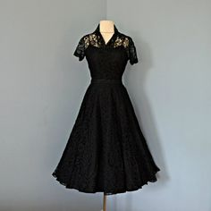 Vintage 1950s Lace Party Dress...Beautiful Sports Whirl Two Piece Black Lace Party Dress