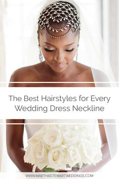 The best hairstyle for a strapless wedding dress is anything sleek. This sleek, pulled-back hairstyle keeps a jewel-encrusted headpiece from looking too over-the-top. Wedding Bun, Best Wedding Makeup, Short Wedding Hair, Bridal Hair And Makeup, Bridal Beauty, Wedding Beauty, Wedding Tips, Wedding Dress Necklines, Necklines For Dresses