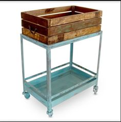 Trolley with box attached for florist pop up shop Loft Furniture, Funky Furniture, Industrial Chic, Kitchen Cart, Console Table, Wooden Toys, Pop Up, Thrifting, Floral Design