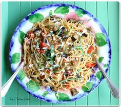 Mmmm eggplant Pasta dish. Lots of Basil and ripe eggplants in the garden right now.