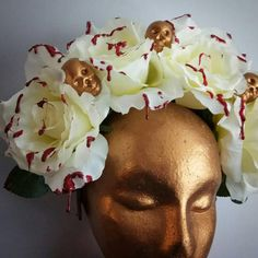 Hand made by me, this is a fabulous day of the dead headdress with absolutely huge white roses on and dripped in fake blood. Day Of The Dead, White Roses, Headdress, Bliss, All Things, My Etsy Shop, Check, Handmade, Day Of Dead