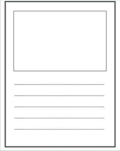 Write and draw lined paper with space for story for Story outline template for kids