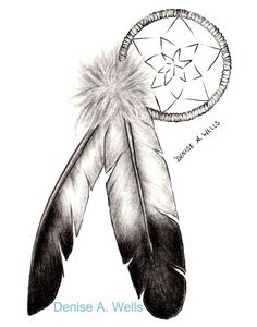 """Loving dream catchers """"Dreamcatcher and Eagle Feathers"""" tattoo design by: ♥Denise A. Eagle Feather Tattoos, Feather Tattoo Design, Eagle Feathers, Tribal Tattoos, Peacock Feathers, Quill Tattoo, Tattoo On, Tattoo Neck, Tattoo Music"""