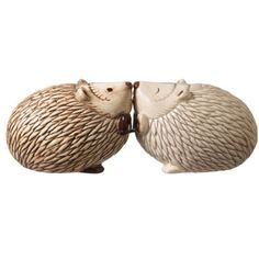 Salt and Pepper Set Crimson Hollow Kissing Hedgehogs by Grasslands Road