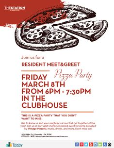 It's Pizza Party time! Join us this Friday for some pizza and get to know your neighbors. We're so excited for our first get together of year. Pet Friendly Apartments, Your Neighbors, Pizza Party, Getting To Know You, Party Time, Join, Friday, Pizza Bar Party