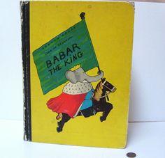 1963 Babar The King Hard Cover Large Book Jean de Brunhoff Vintage