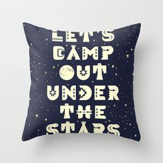Let's Camp Out Under The Stars Pillow Outdoorsy Camp Themed Playroom decor