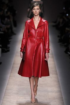 "Valentino's Spring Summer 2013 Collection     Designers, Maria Grazia Chiuri and Pierpaolo Piccioli, were ""struck by the notion of a woman's identity"" and the ""concept of beauty""     With this red hot trench coat you can be nothing less than fabulous!"
