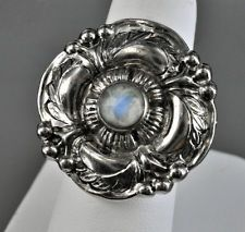 Georg Jensen. Design no. 186. Ring. Sterling silver and moonstone.