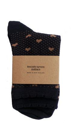 TWENTY-SEVEN NAMES Socks New Zealand Designer - NZ Designer Shop now www.livsnz.com Shops, The Twenties, Designer, Names, How To Make, Tents, Retail, Retail Stores