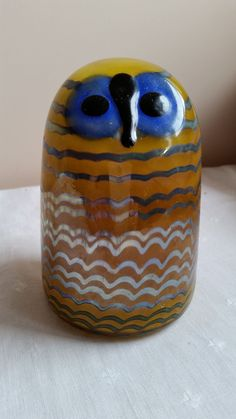 Iittala Hand Blown Glass Owl, Signed Oiva Toikka,