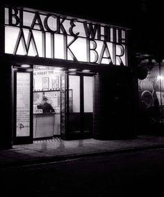 Black & White milk bar Pentonville Road, London N1 (late 1930's).  Wonderful photo.