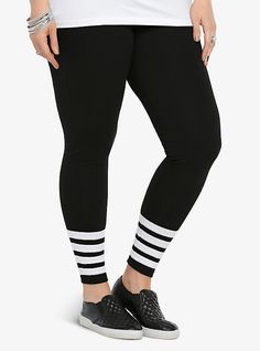 Striped Leggings, BLACK-WHITE STRIPE