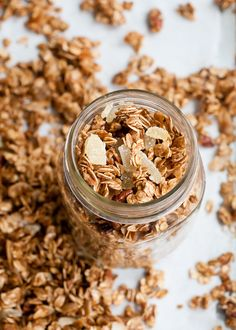 Gingerbread Granola with coconut oil, candied ginger, and pecans!