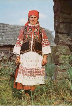 Old woman from the Eastern Polessye region of Belarus in traditional costume