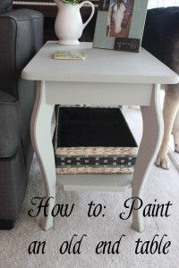 Furniture Painting: Gray End Table Photo