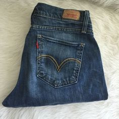 Levi Curvy Cut Straight Leg Jeans Preloved and in good condition. These were worn a lot but still had life left. Little signs of wear like in the legs. But nothing serious. Please no holds, trades, or pp.Thank you! Levi's Jeans Straight Leg