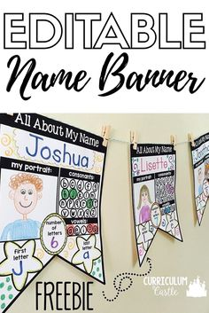 "FREE!!! Customizable name banner for students to practice writing their name. It's a great name activity to learn ""all about my name""!!!"