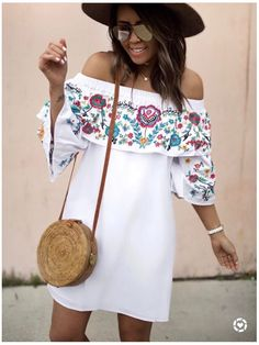 **** May 2017 Stitch Fix! Get hand picked styles just like this!! Love this white off the shoulder embroidered dress.. total boho style! Just click the picture to get signed up today and start receiving custom looks handpicked especially for you!! Stitch Fix Spring, Stitch Fix Summer, Stitch Fix Fall 2017. Stitch Fix Spring Summer Fall Fashion. #StitchFix #Sponsored