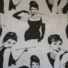 Audrey Hepburn Wallpaper by P + S International Audrey Hepburn Wallpaper, Conversational Prints, Cher, Girl Crushes, Color Combinations, Fabric Design, Pop Culture, Street Art, Icons