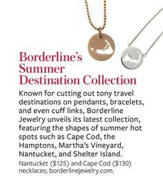 "Borderline Jewelry Cape Cod ""beach border"" necklace, bracelet, keychain"