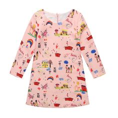 17.06$  Buy now - http://ali2vb.shopchina.info/go.php?t=32789644945 - 2017 Long Sleeve Dress Girl European Brand Princess Wind Pink Cartoon Girls Clothes Party Dresses Ukraine Children Clothing  17.06$ #bestbuy