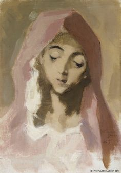 Helene Schjerfbeck Madonna de la Charité, after El Greco 1941 Helene Schjerfbeck, Madonna, Portrait Art, Portraits, National Gallery, Futuristic Art, Black And White Painting, Color Of Life, Face Art