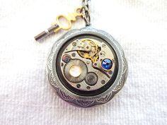 Steampunk Large Gunmetal Locket Necklace Vintage by Treasurebay, $55.00