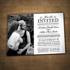 PRINTABLE WEDDING INVITATION photo modern traditional simple black white. $20.00, via Etsy.
