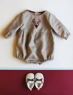 Baby Romper Baby Outfit Linen Romper Christmas Reindeer