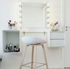 White makeup space. White interior