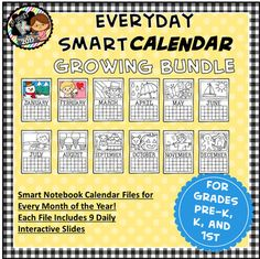 NOW is the time to grab this GROWING Bundle for a STEAL! This bundle will include a SMART Calendar File for each month of the year when it is complete. Once you purchase the bundle you can come back and re-download for additional files! Buy NOW and SAVE $52!Your students will LOVE these calendars and Calendar Time will quickly become one of your FAVORITE times of the school day *Created with Smart Notebook and intended for use with Smart Boards.