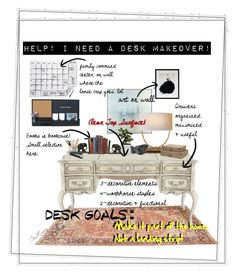 """desk makeover"" by caroline-buster-brown on Polyvore featuring interior, interiors, interior design, home, home decor, interior decorating, John-Richard, Hooker Furniture, ESSEY and Home Decorators Collection"