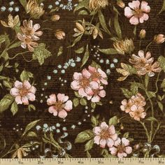 A Ladies' Diary Delicate Details Cotton Fabric - Vintage Black 1825-85547-937W by Beverlys.com