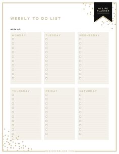 Weekly To Do List | To Do List | My Life Planner | Ultimate Life Planner | Designer Blogs
